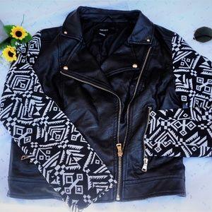 forever 21 b/W  leather design jacket MEDIUM
